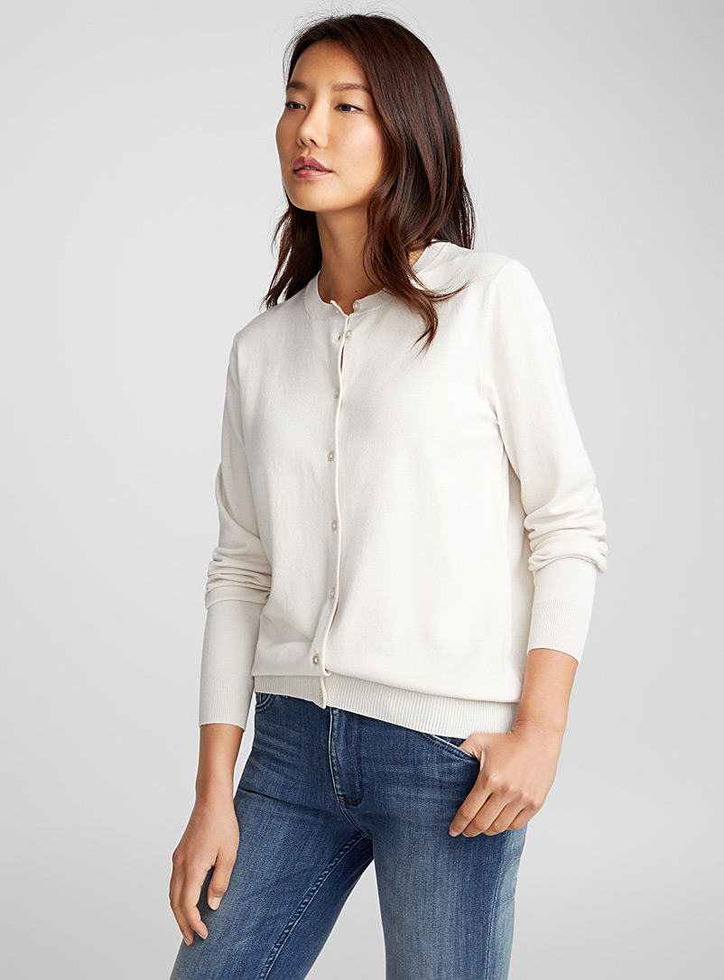 Fine knit buttoned cardigan - Cardigans - Ivory White