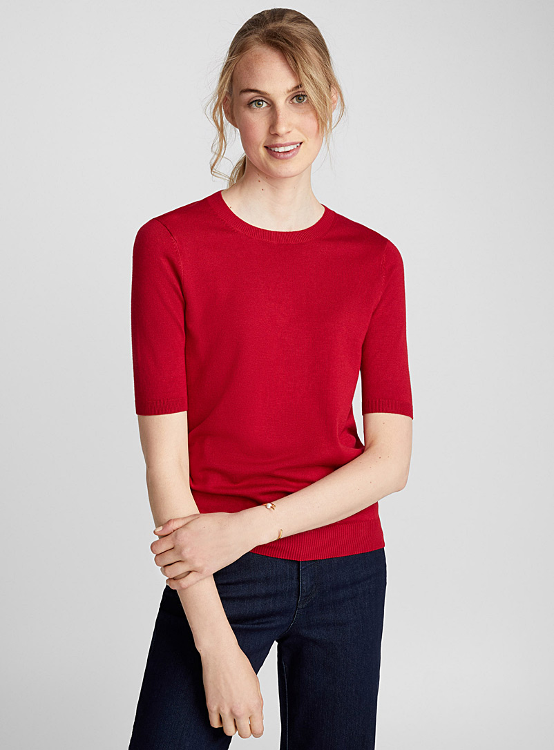 Fine knit short-sleeve sweater - Sweaters - Ruby Red