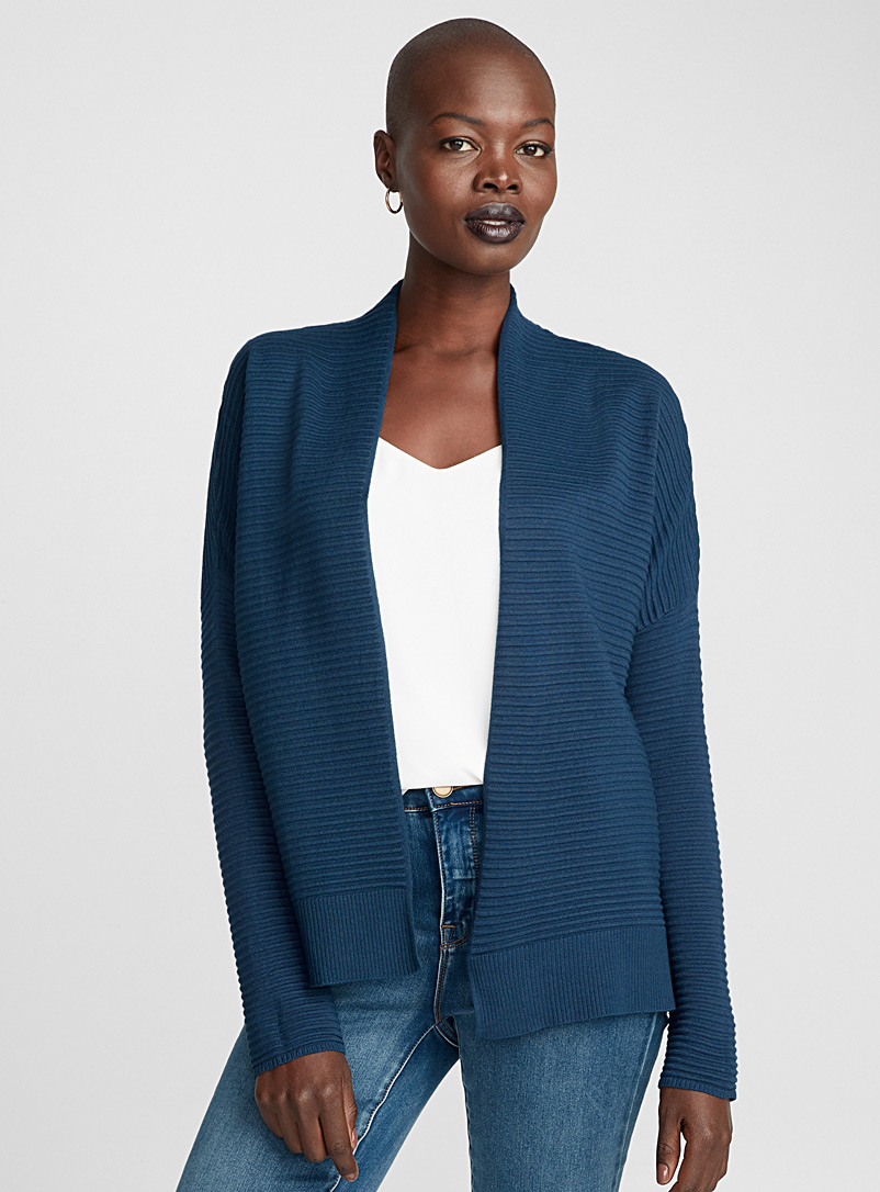 Contemporaine Dark Blue Ottoman knit cardigan for women