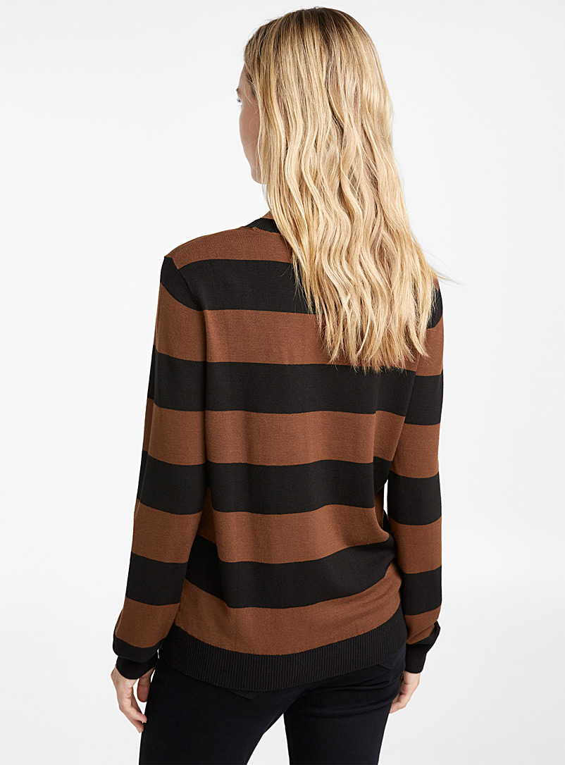 Striped crew-neck sweater - Sweaters - Light Brown
