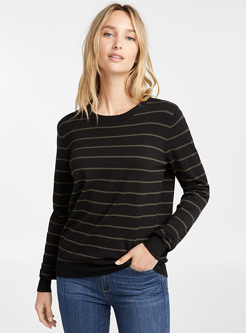 Striped crew-neck sweater - Sweaters - Bottle Green