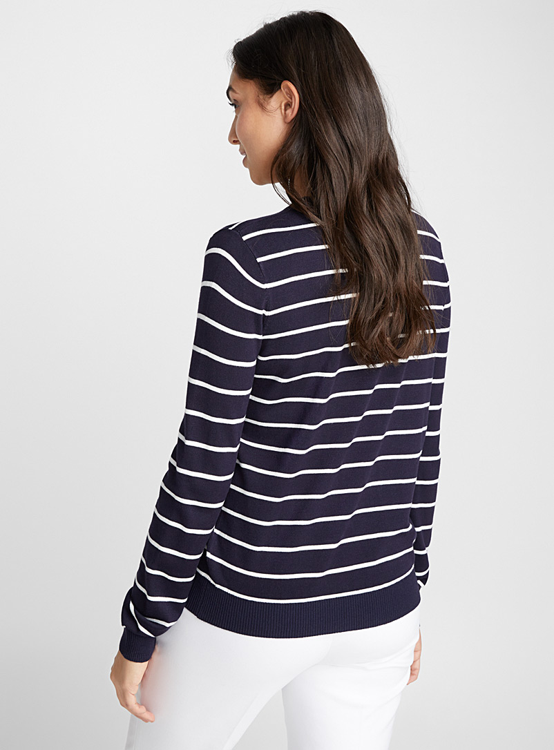 Striped crew-neck sweater - Sweaters - Dark Blue