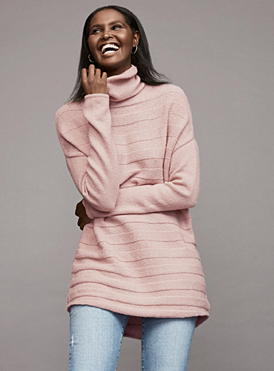 Embossed-stripe turtleneck tunic