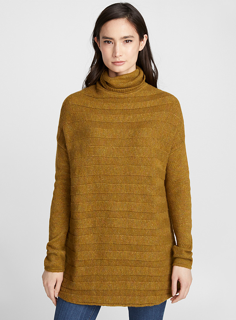 Embossed-stripe turtleneck tunic - Sweaters - Golden Yellow