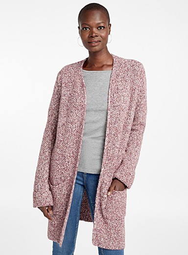 Textured-knit open cardigan