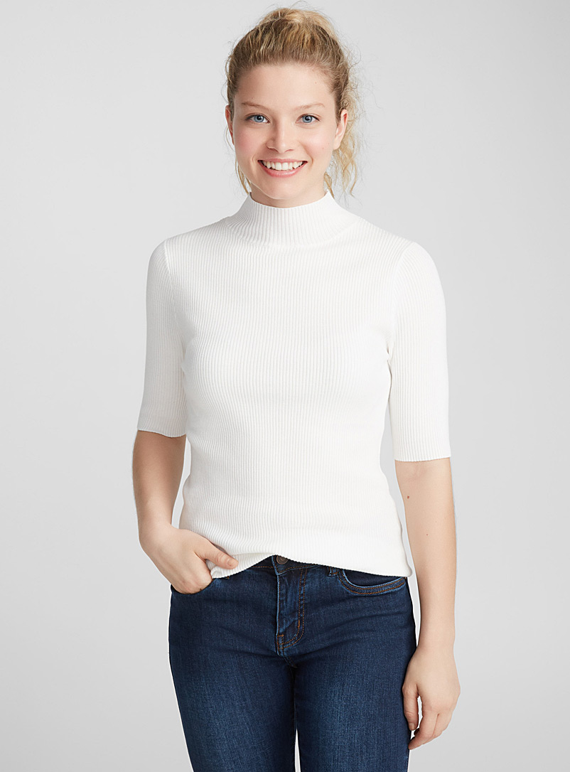 Le pull col montant tricot viscose - Pulls - Ivoire blanc os