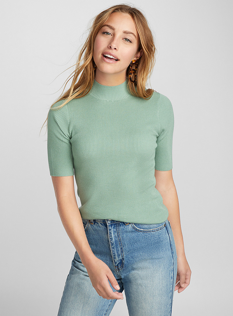 Viscose-knit mock-neck sweater - Sweaters - Lime Green