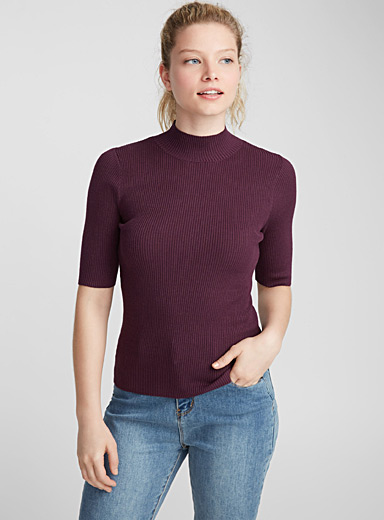 Viscose-knit mock-neck sweater