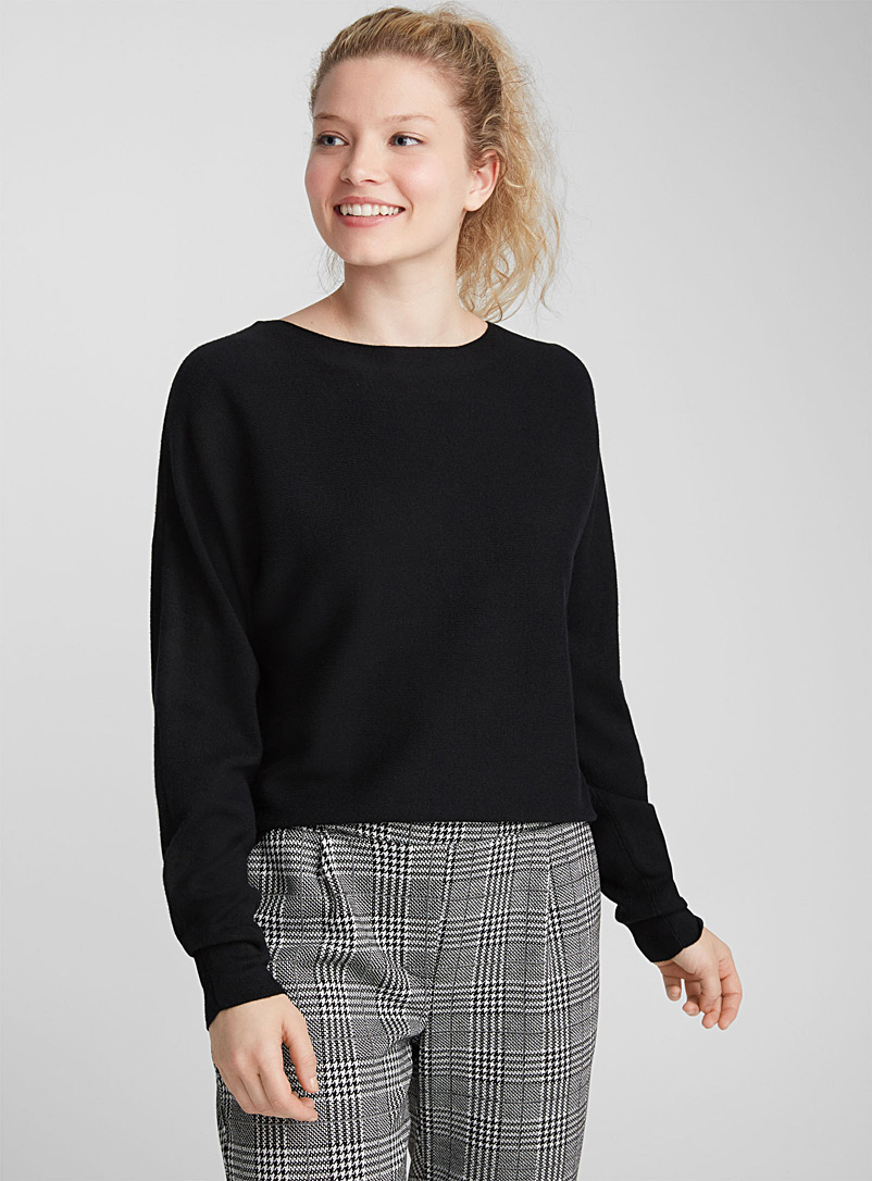 Cropped boat neck sweater - Sweaters