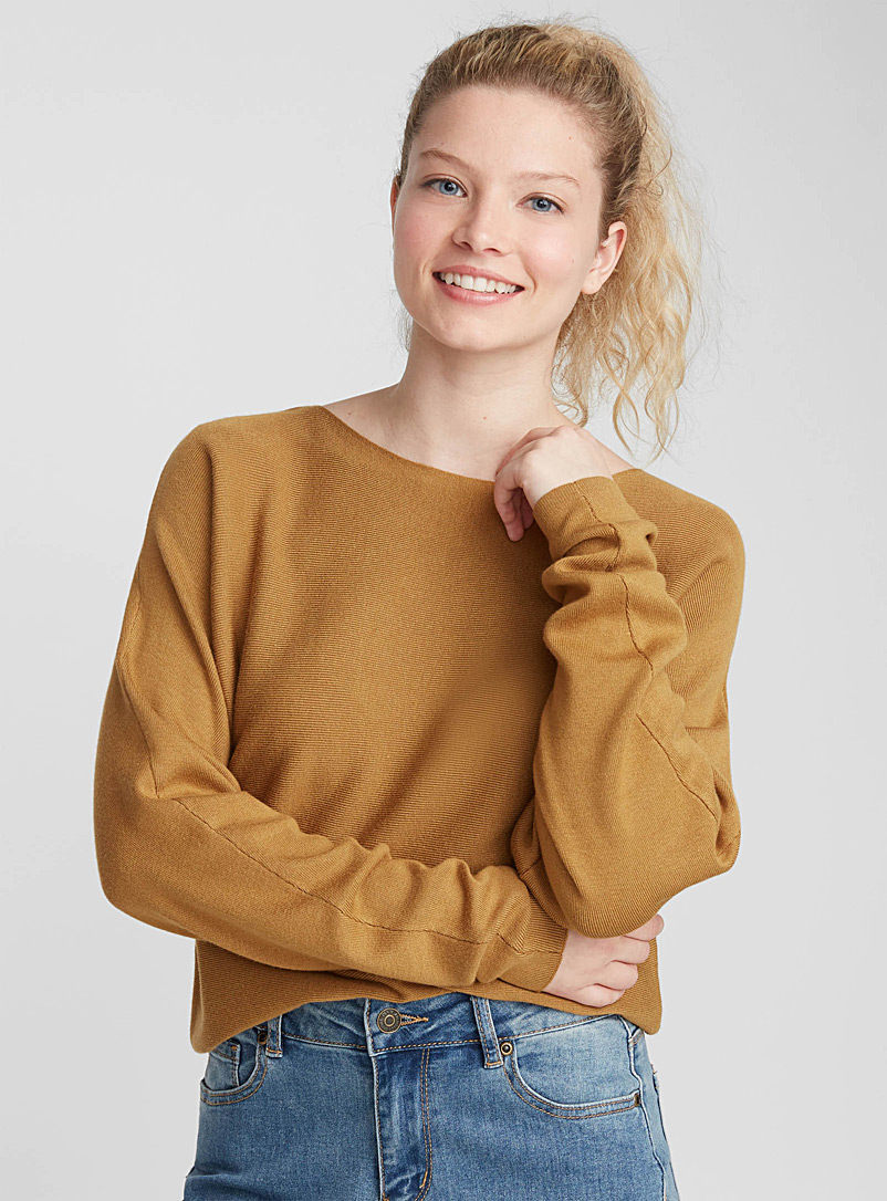 Cropped boat neck sweater - Sweaters - Honey