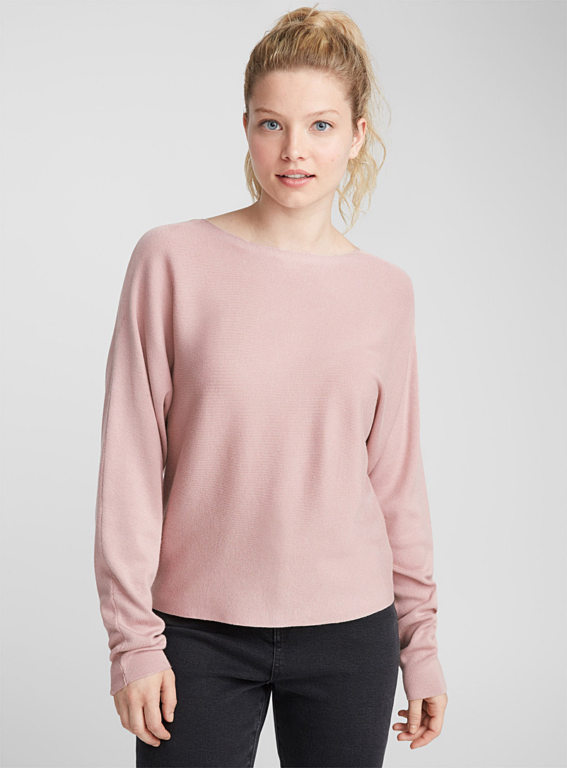 Cropped boat neck sweater - Sweaters - Dusky Pink