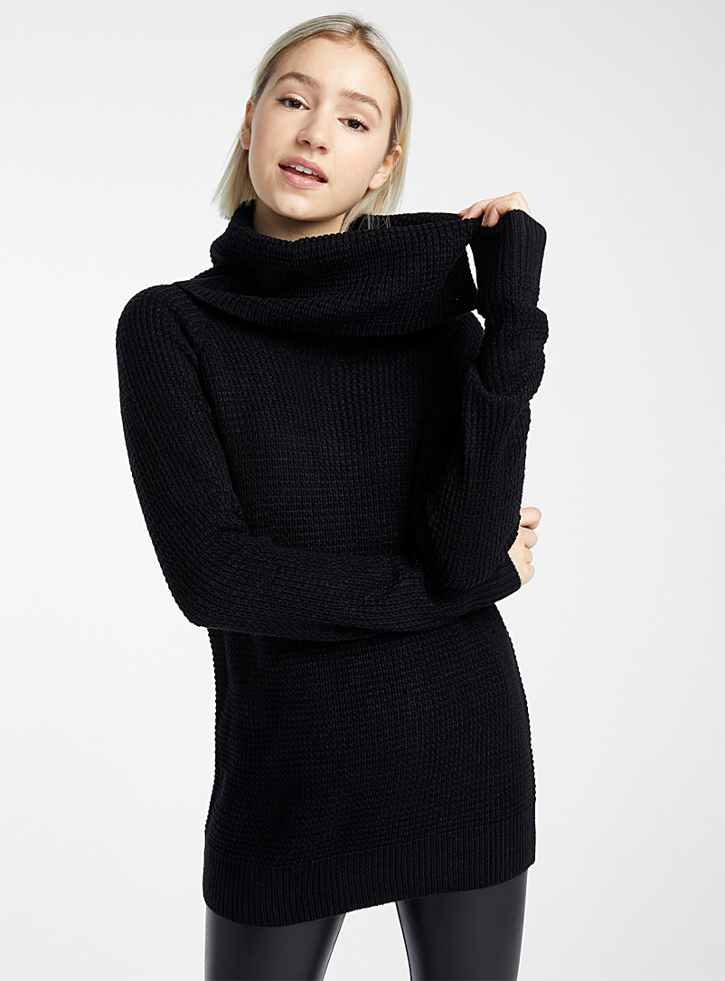 Waffled cowl-neck sweater - Sweaters - Black