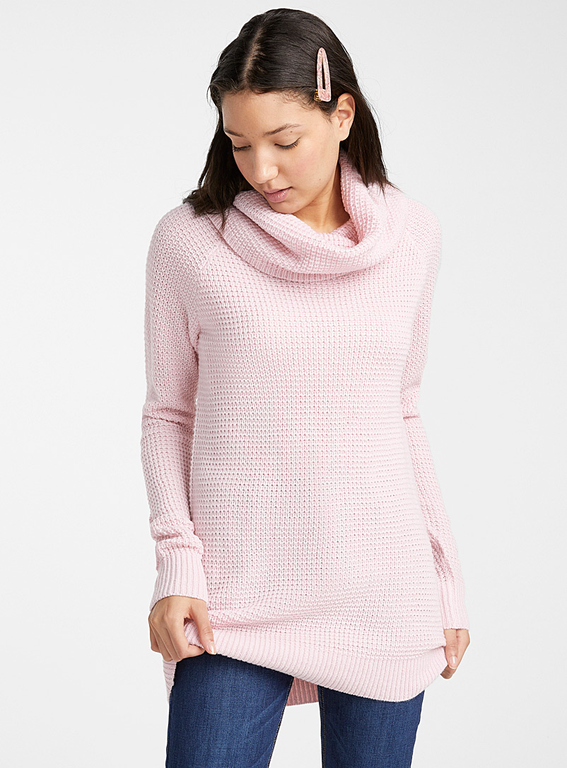 Le pull gaufré col tombant - Pulls - Rose