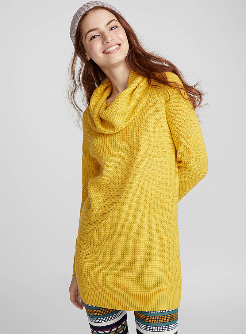 Waffled cowl-neck sweater - Sweaters - Bright Yellow