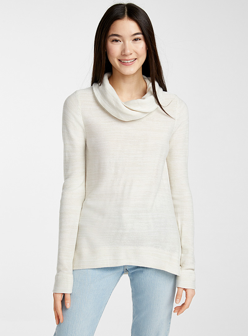 Draped high neck sweater - Sweaters - Cream Beige