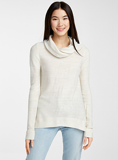Draped high neck sweater