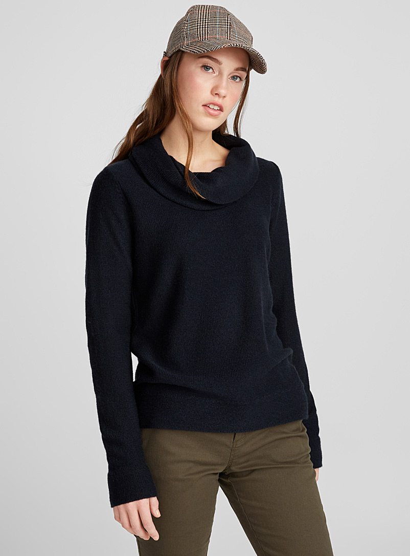Draped high neck sweater - Sweaters - Marine Blue