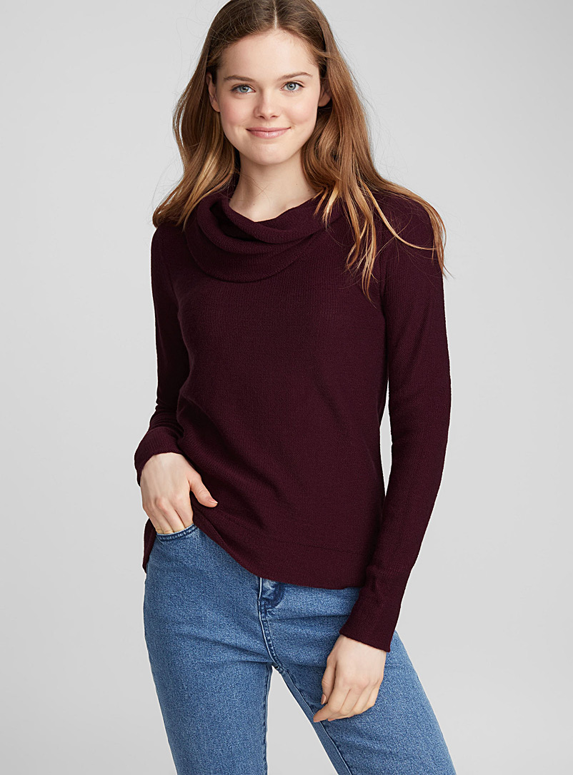 Draped high neck sweater - Sweaters - Ruby Red