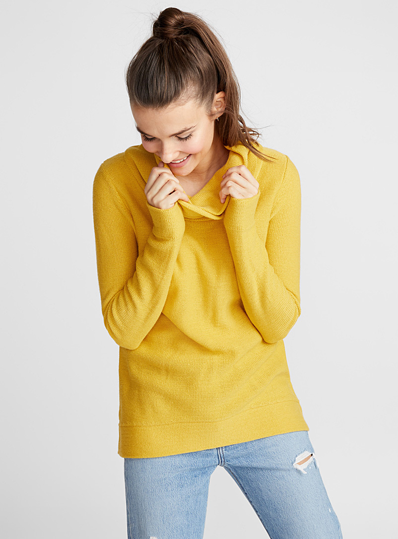 Draped high neck sweater - Sweaters - Bright Yellow