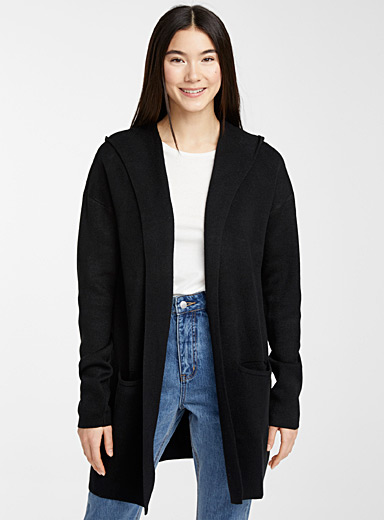 Le cardigan capuche poches accent