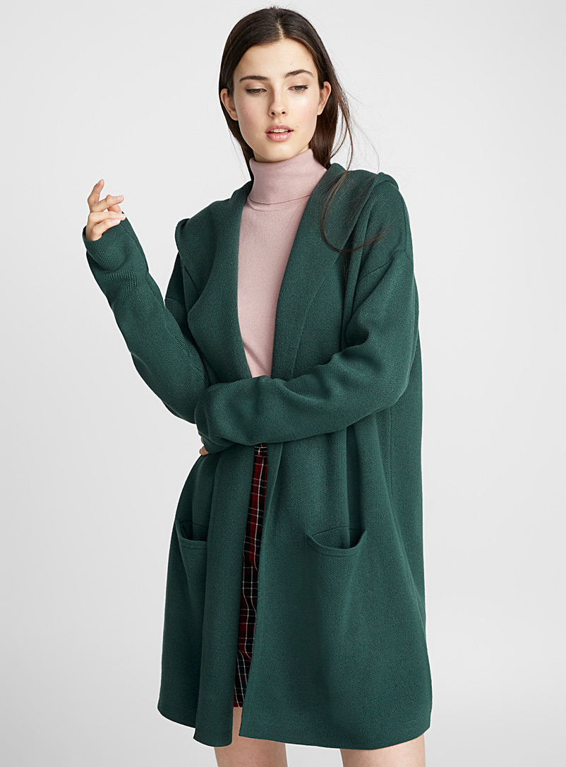 Accent-pocket hooded cardigan - Cardigans - Green