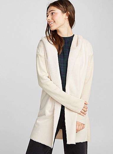 Plush-lined faux-suede cardigan
