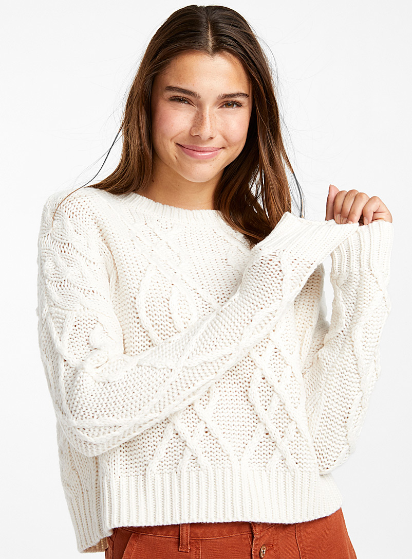 Cropped recycled polyester cable sweater - Sweaters - Ivory White