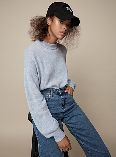 Bubble-sleeve mock neck sweater