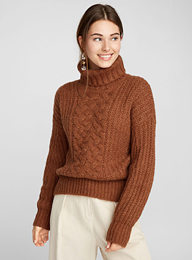 Bubble-sleeve turtleneck