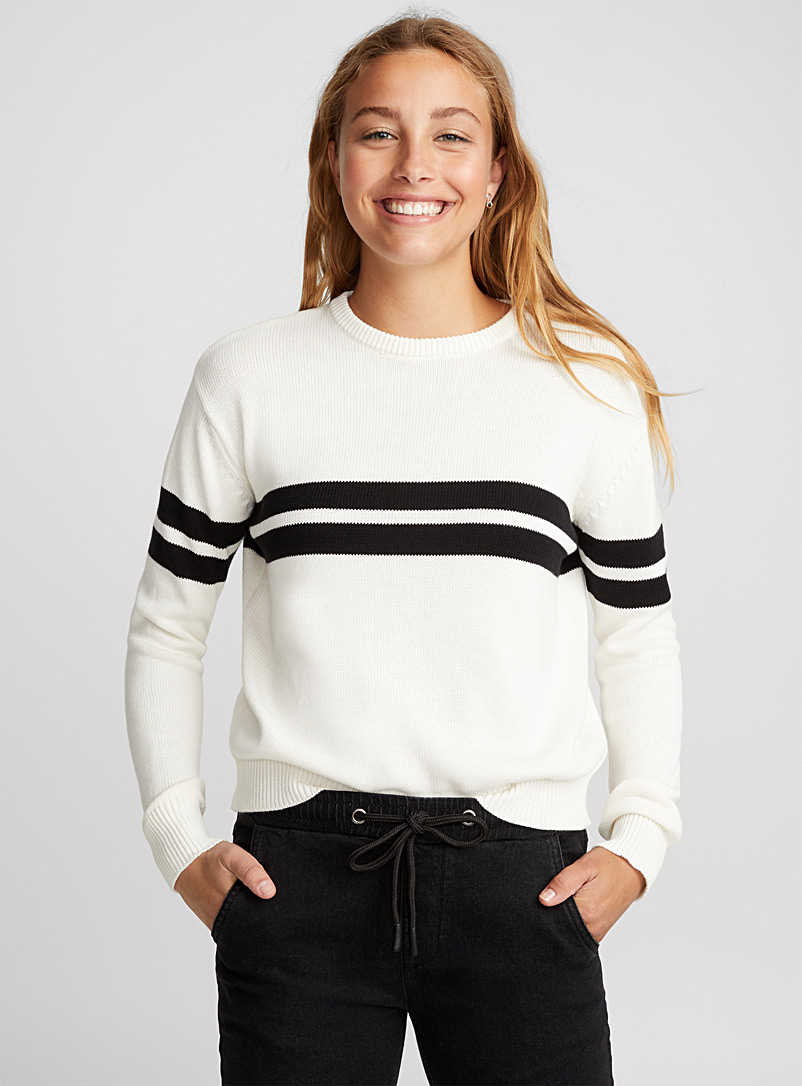 Le pull court rayures accent - Pulls - Ivoire blanc os