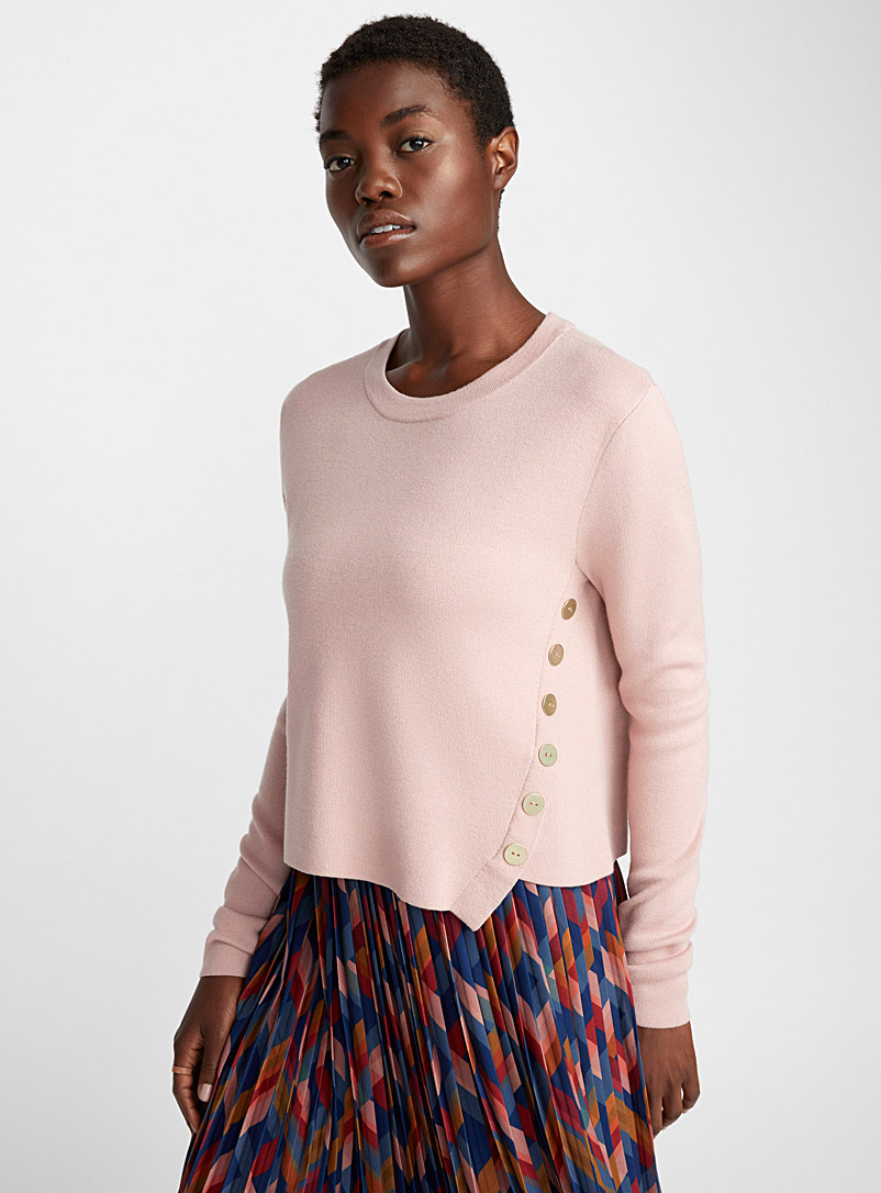 Golden button asymmetric sweater - Sweaters - Dusky Pink