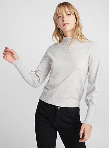 Oversized sleeve high-neck sweater