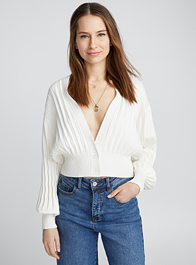 Accordion-pleat cardigan