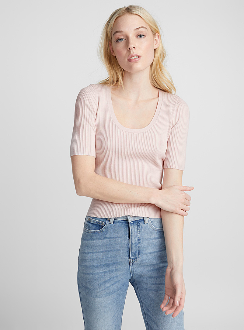 Plunging round-neck ribbed sweater - Sweaters - Dusky Pink