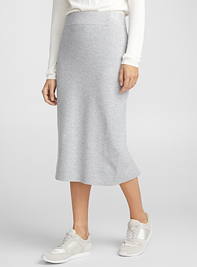 Knit midi tube skirt