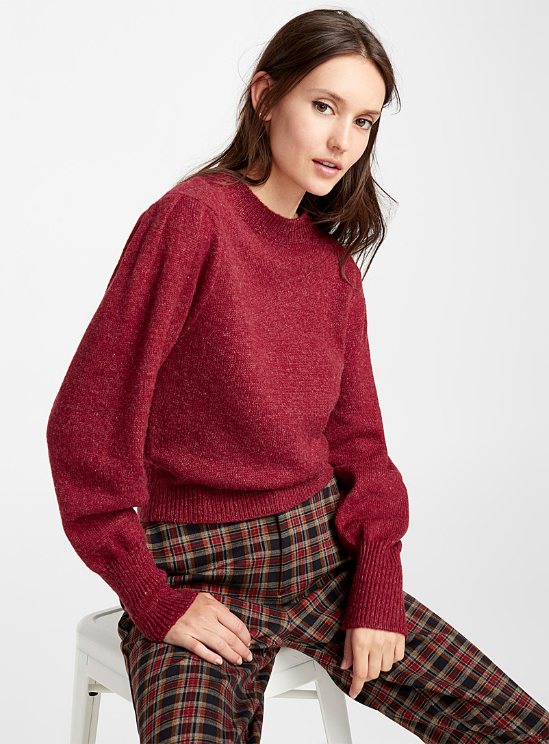 Leg-of-mutton sleeve sweater - Sweaters - Ruby Red