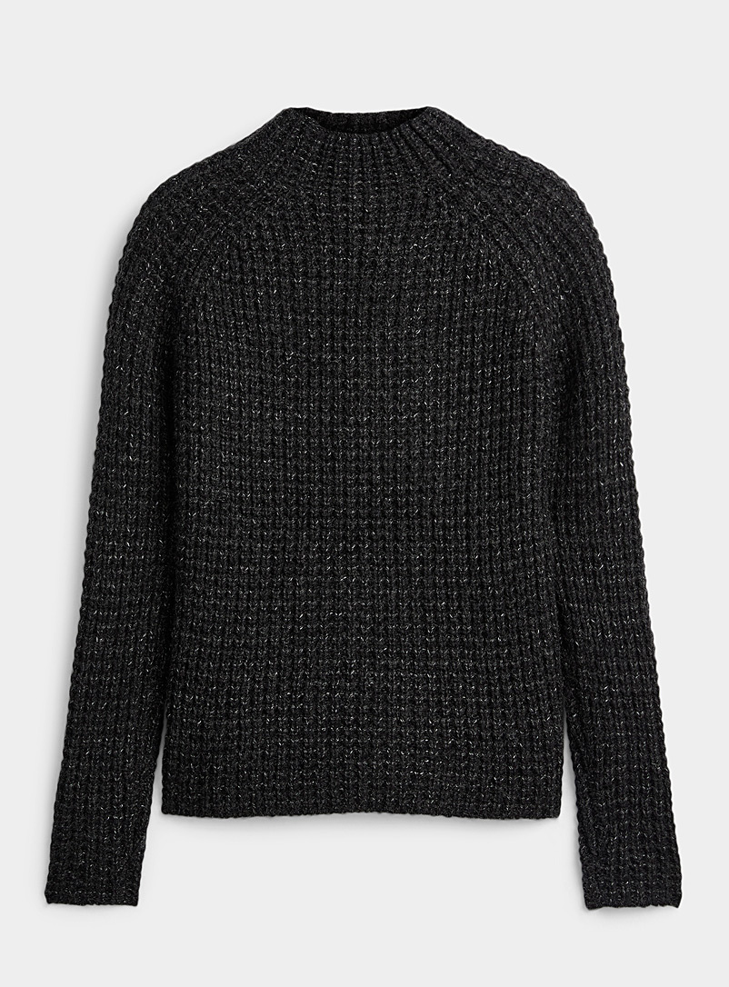 Icône Black Chunky waffle sweater for women