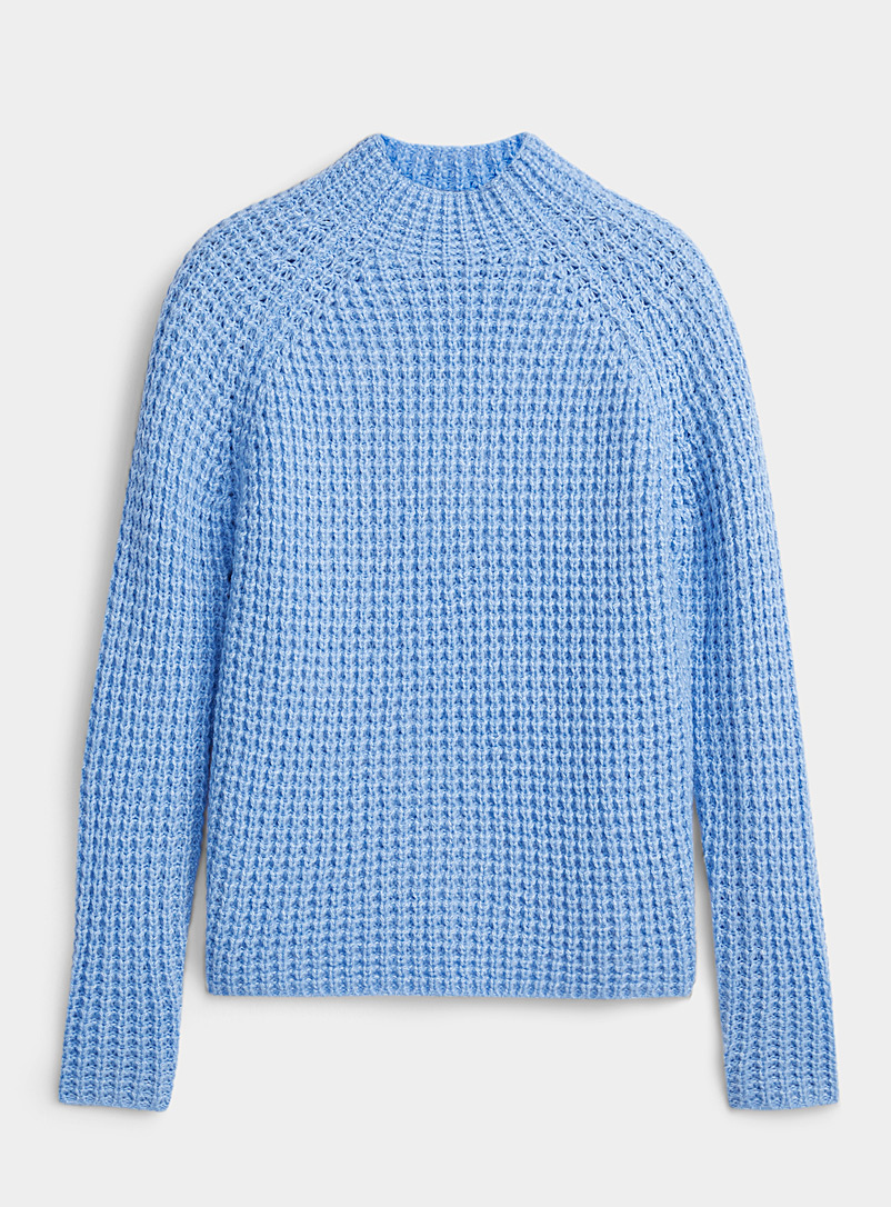 Ic?ne Baby Blue Chunky waffle sweater for women