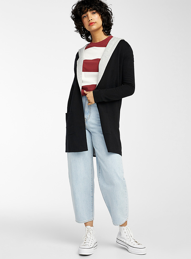 Twik Black Two-tone hooded cardigan for women