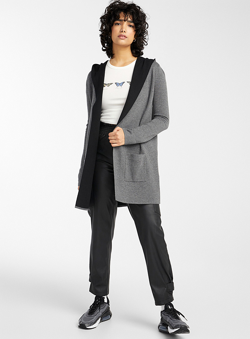 Two-tone hooded cardigan