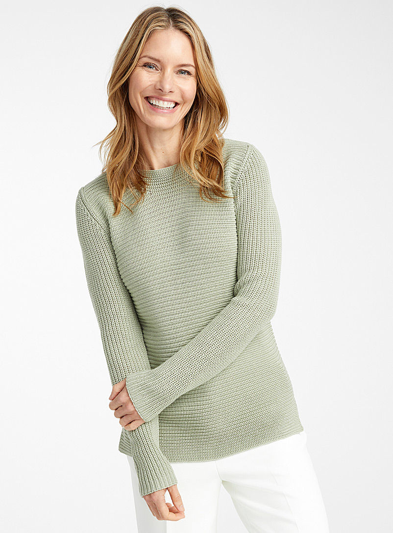 Contemporaine Lime Green Ribbed boat-neck sweater for women