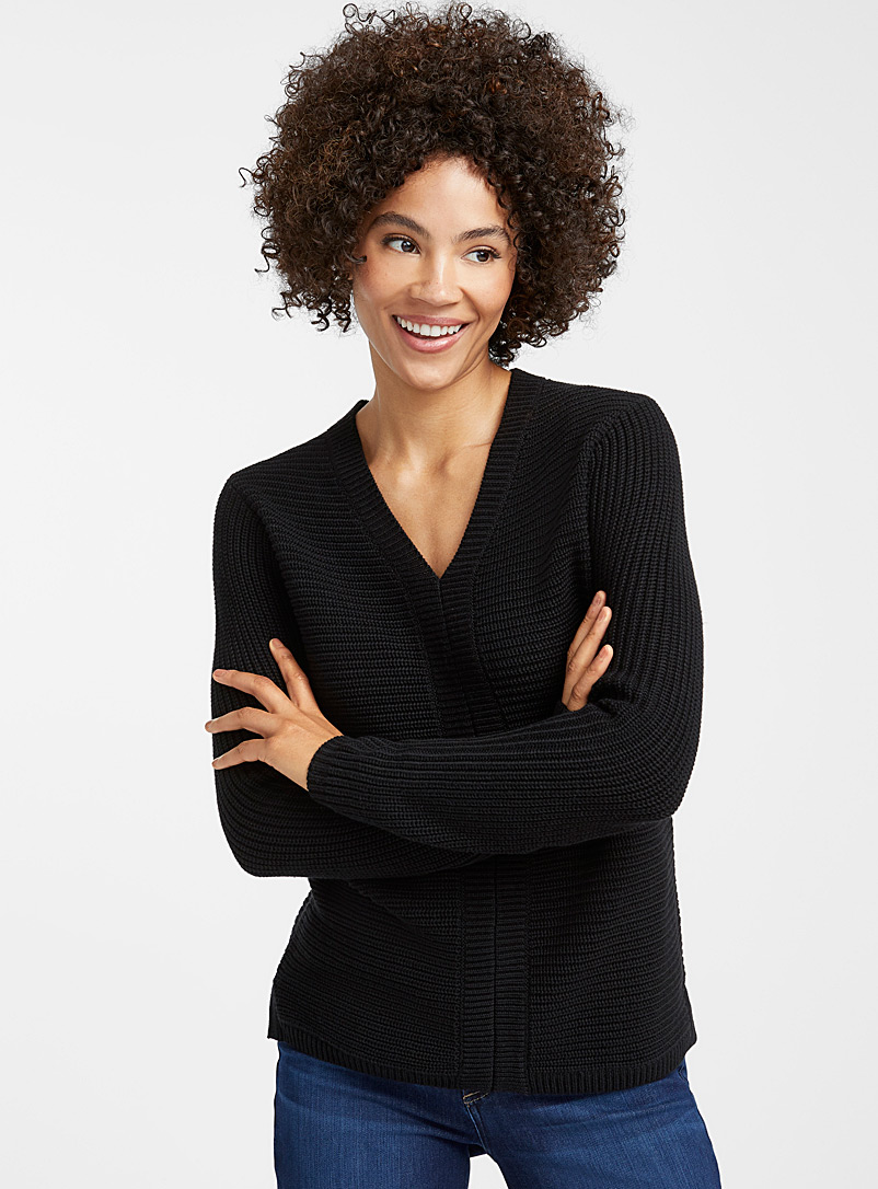 Contemporaine Black Horizontal-ribbed V-neck sweater for women