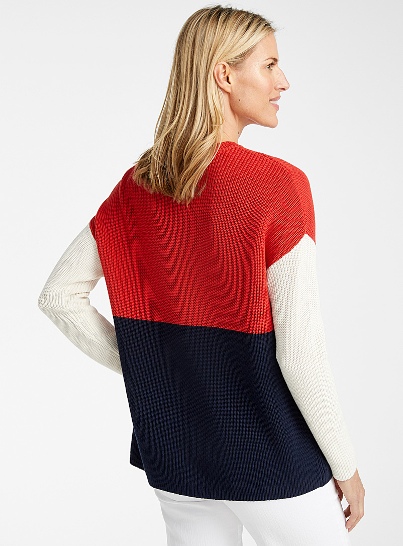 Contemporaine Marine Blue Colour block sweater for women