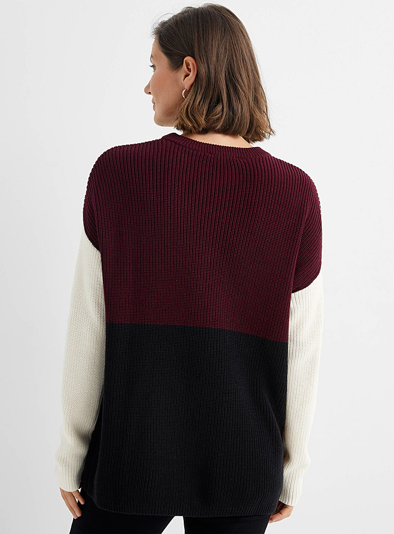 Contemporaine Pink Ribbed colour-block sweater for women