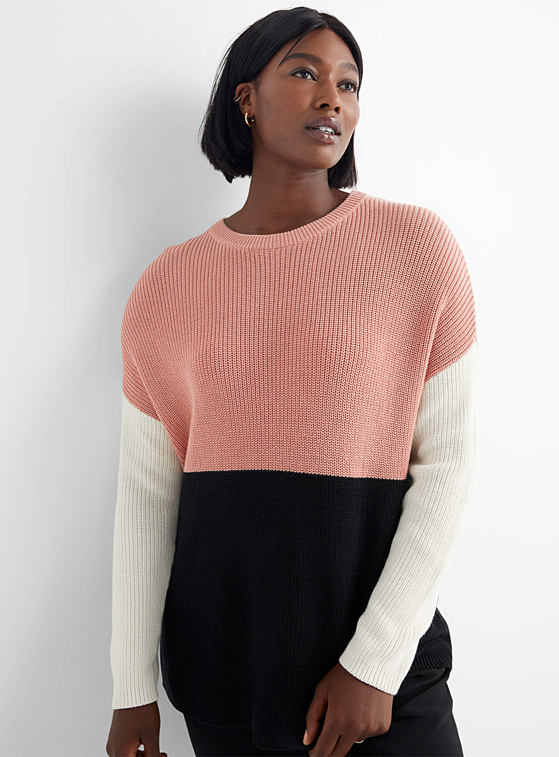 Contemporaine Pink Colour block sweater for women