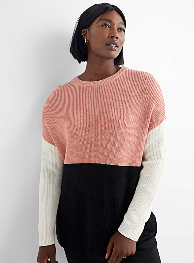 Ribbed colour-block sweater