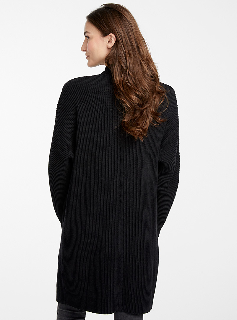 Contemporaine Black Oversized ribbed cardigan for women