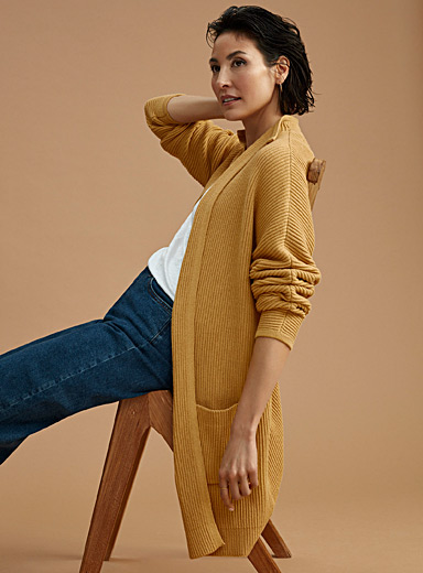 Contemporaine Medium Yellow Oversized ribbed cardigan for women