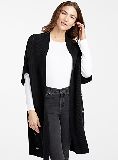 Side button open cardigan