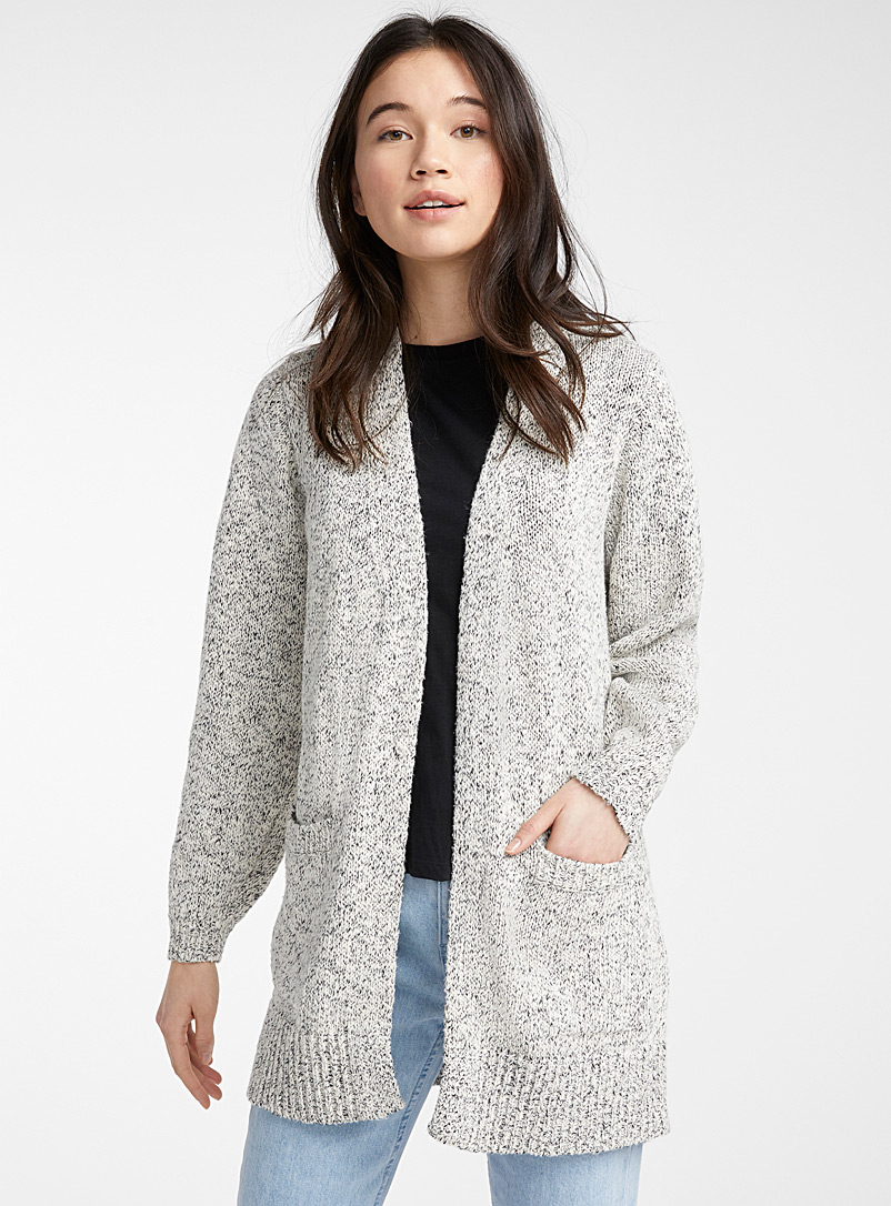 Twik Ivory White Bubble sleeve heathered cardigan for women